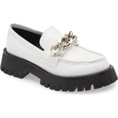 Jeffrey Campbell Recess Chain Platform Loafer- White