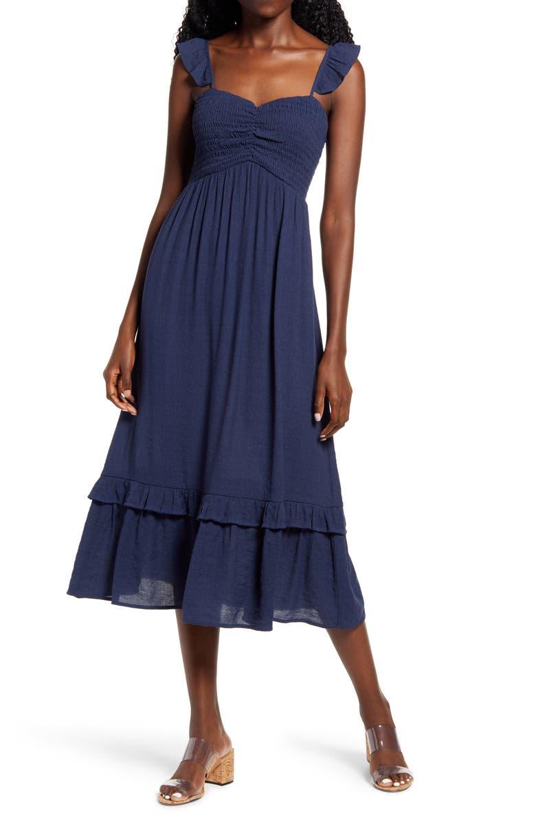 ONE CLOTHING Smocked Bodice Midi Sundress, Main, color, NAVY