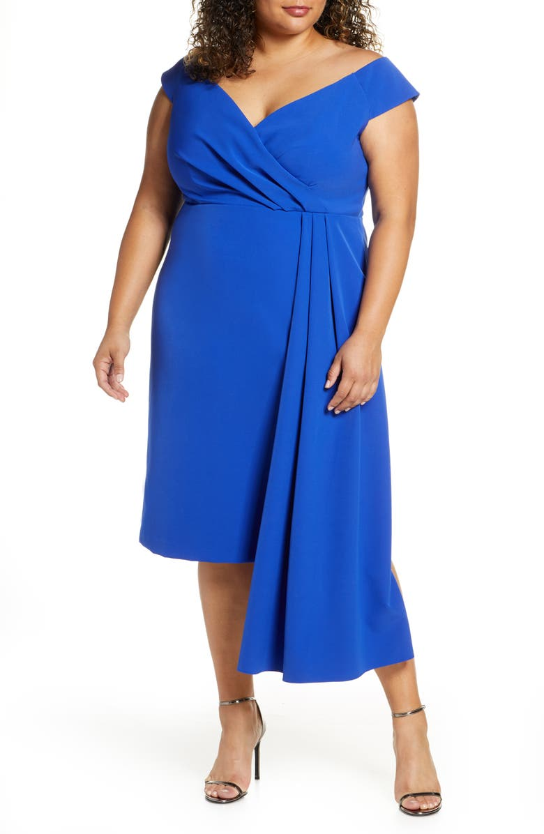 ELIZA J Off the Shoulder Asymmetrical Cocktail Dress, Main, color, COBALT
