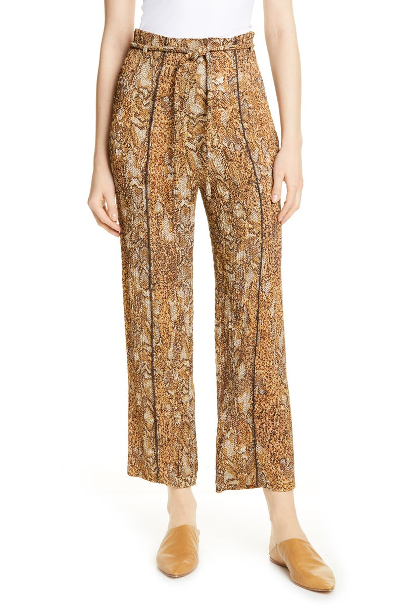 NANUSHKA Luma Snake Print Pants, Main, color, BROWN SNAKE