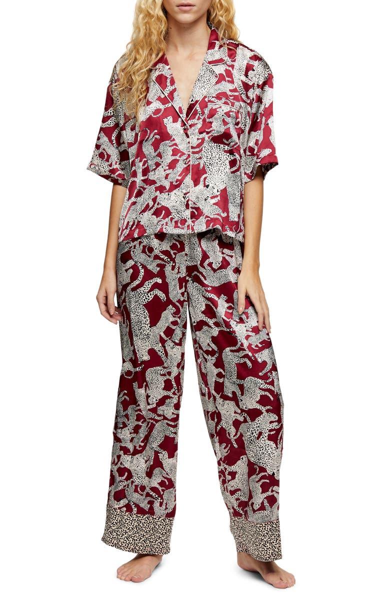 TOPSHOP Leopard Print Satin Pajamas, Main, color, BURGUNDY MULTI