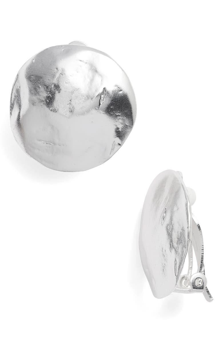 KARINE SULTAN Eva Shell Disc Clip-On Earrings, Main, color, SILVER