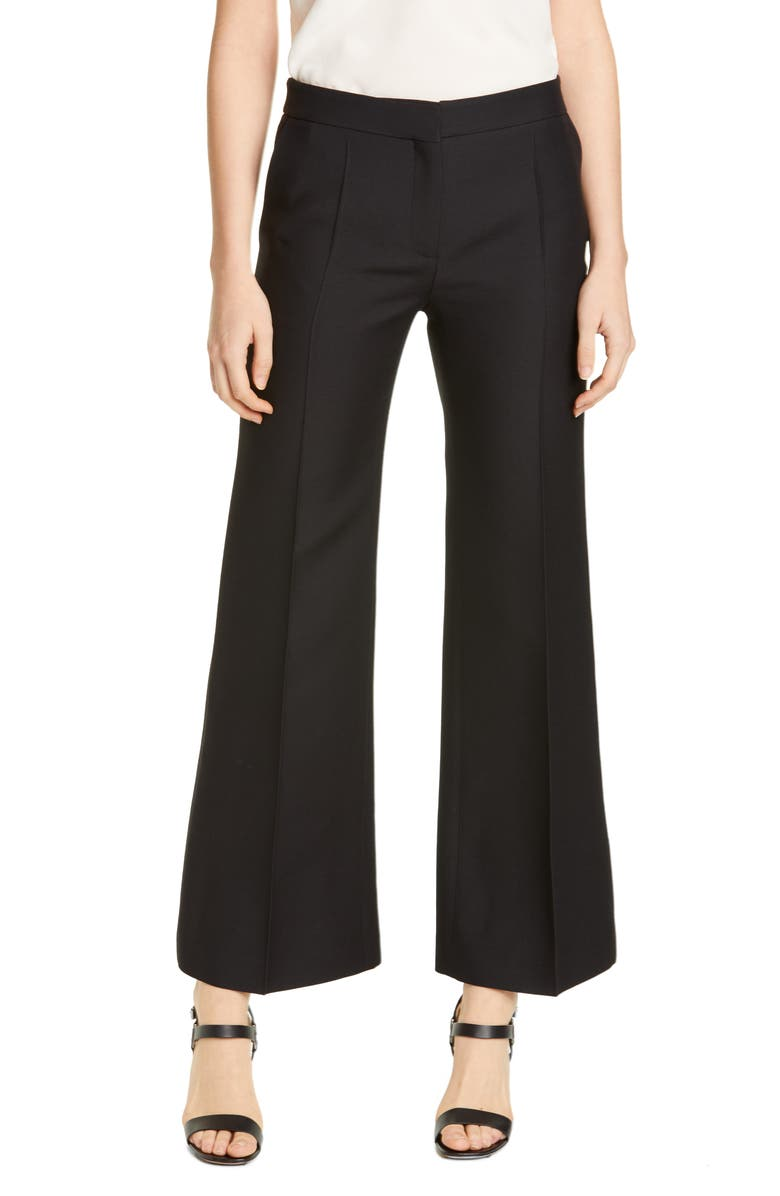 VALENTINO Wool & Silk Straight Leg Ankle Pants, Main, color, NERO