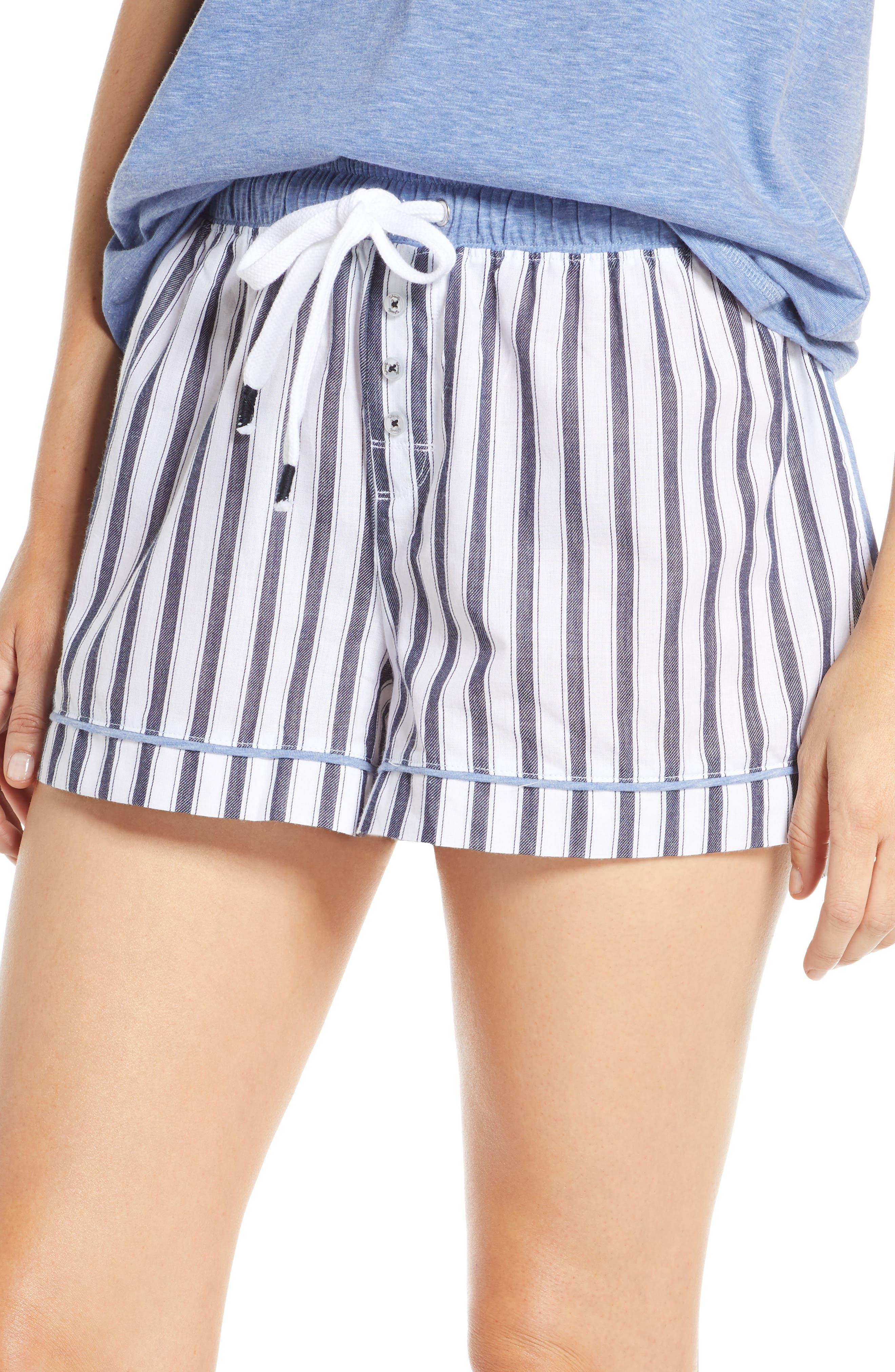 Splendid Stripe Pajama Shorts, White