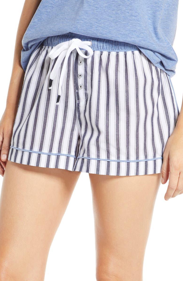 SPLENDID Stripe Pajama Shorts, Main, color, VERTICAL MIDNIGHT STRIPE