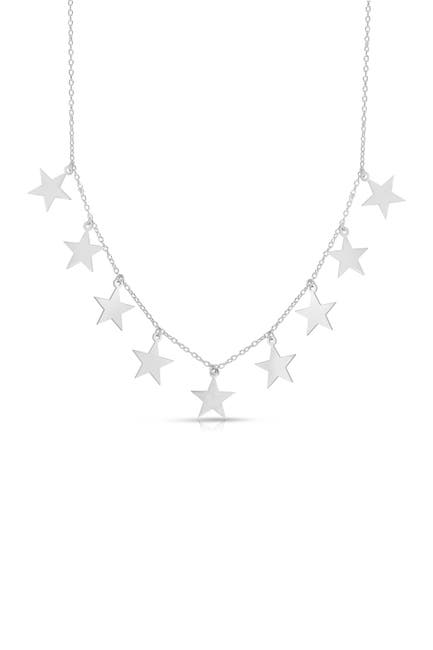 Image of Sphera Milano Rhodium Plated Sterling Silver Star Charm Necklace