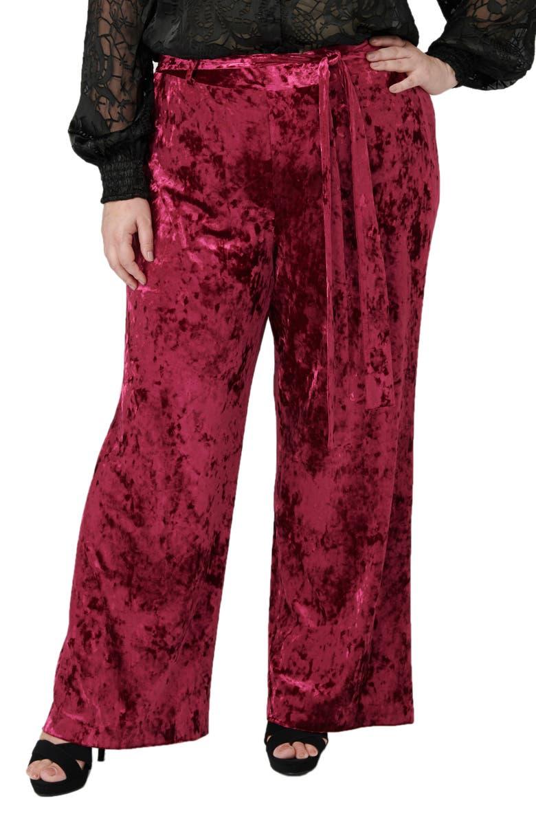 MARÉE POUR TOI The Velvet Pants, Main, color, BURGUNDY