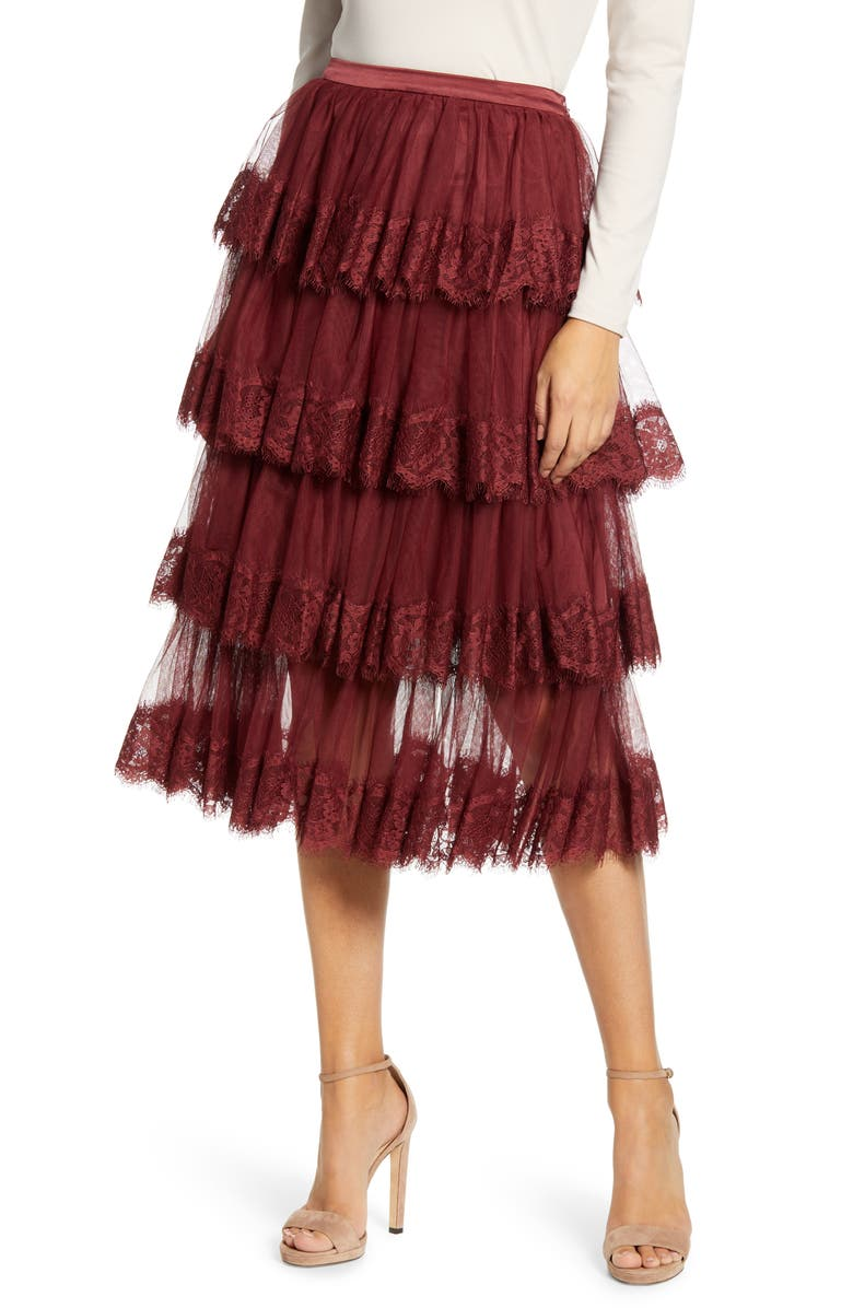 RACHEL PARCELL Lace Trim Tiered Mesh Skirt, Main, color, RED GRAPE