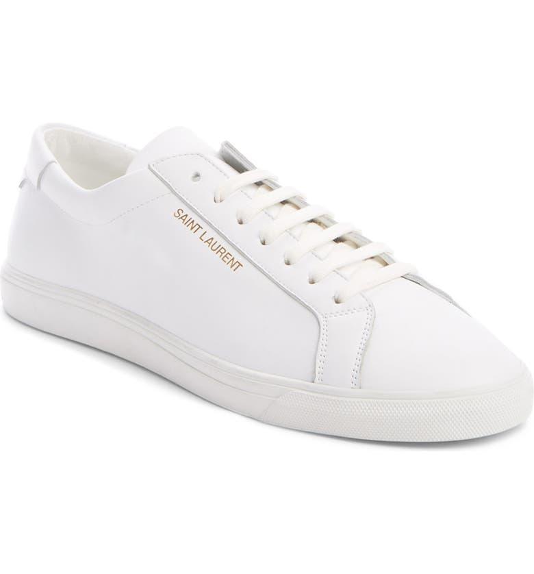 SAINT LAURENT Andy Low Top Sneaker, Main, color, WHITE
