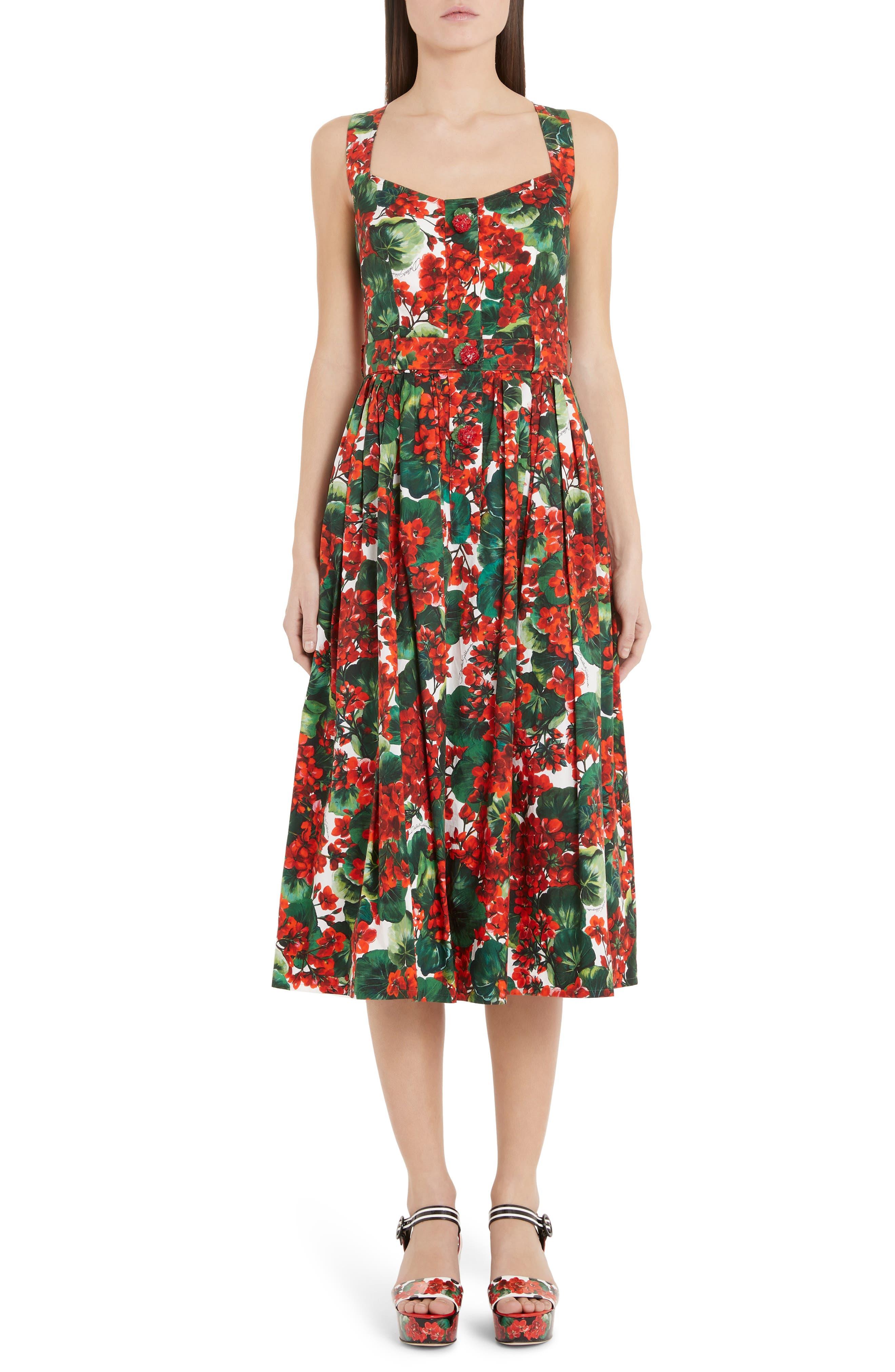 Dolce & gabbana Geranium Print Midi Dress, 8 IT - Red