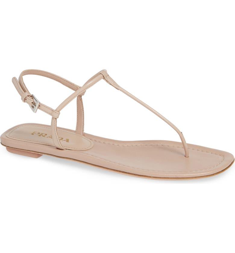 PRADA Thong Sandal, Main, color, CIPRIA