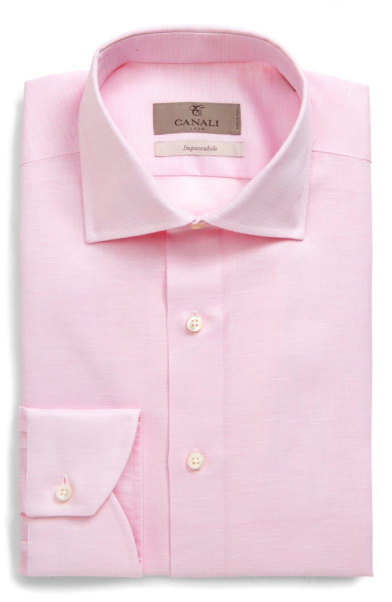CANALI Regular Fit Geometric Dress Shirt, Main, color, PINK