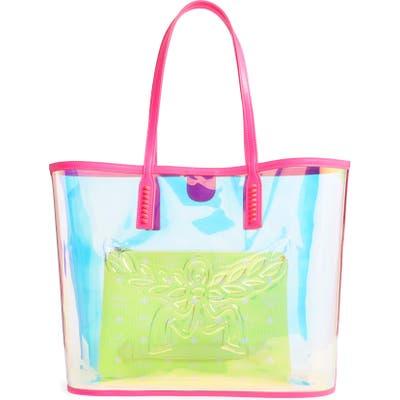 Mcm Medium Flo Transparent Holographic Shopper - Pink
