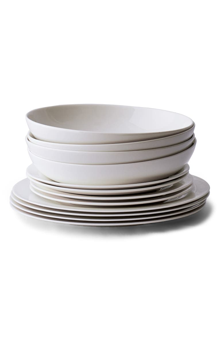 THE WHITE COMPANY Symons 12-Piece Bone China Dinnerware Set, Main, color, WHITE