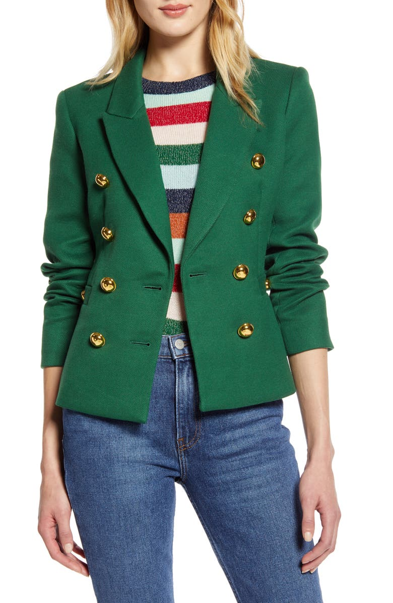HALOGEN<SUP>®</SUP> x Atlantic-Pacific Double Breasted Blazer, Main, color, GREEN EDEN