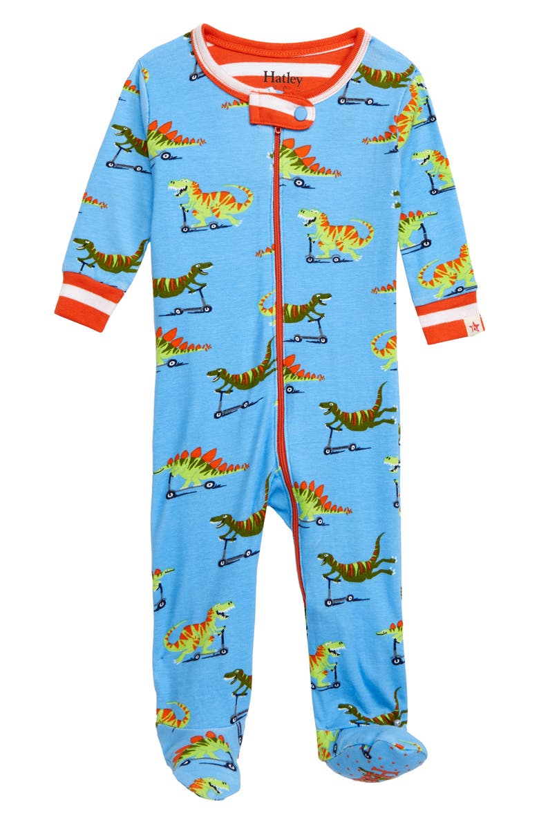 HATLEY Scooting Dinos Organic Cotton Fitted One-Piece Pajamas, Main, color, 400