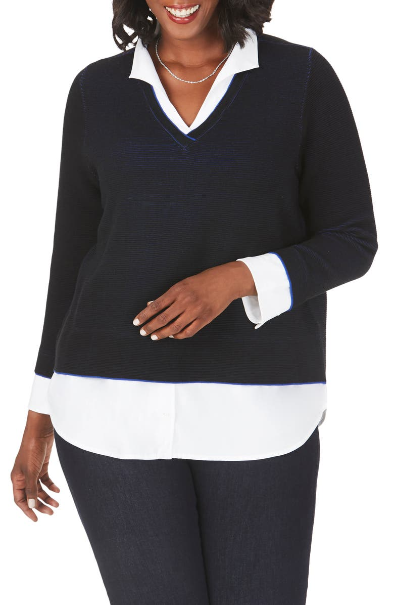 FOXCROFT Mika Layered Sweater, Main, color, BLACK
