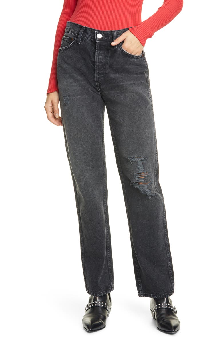 RE/DONE Originals High Waist Loose Jeans, Main, color, WORN IN BLACK