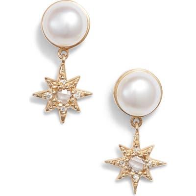 Anzie Pearl & Diamond Drop Earrings