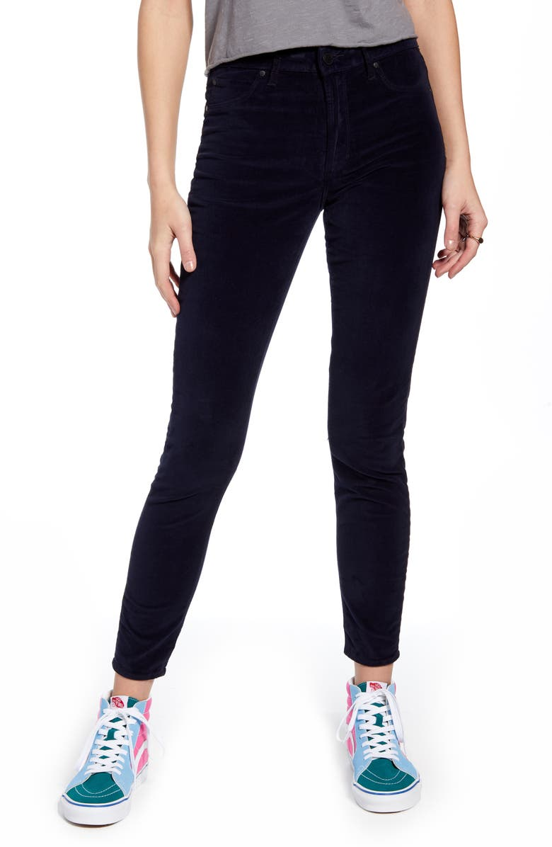 ARTICLES OF SOCIETY Hilary High Waist Velveteen Ankle Skinny Jeans, Main, color, MCNEELEY