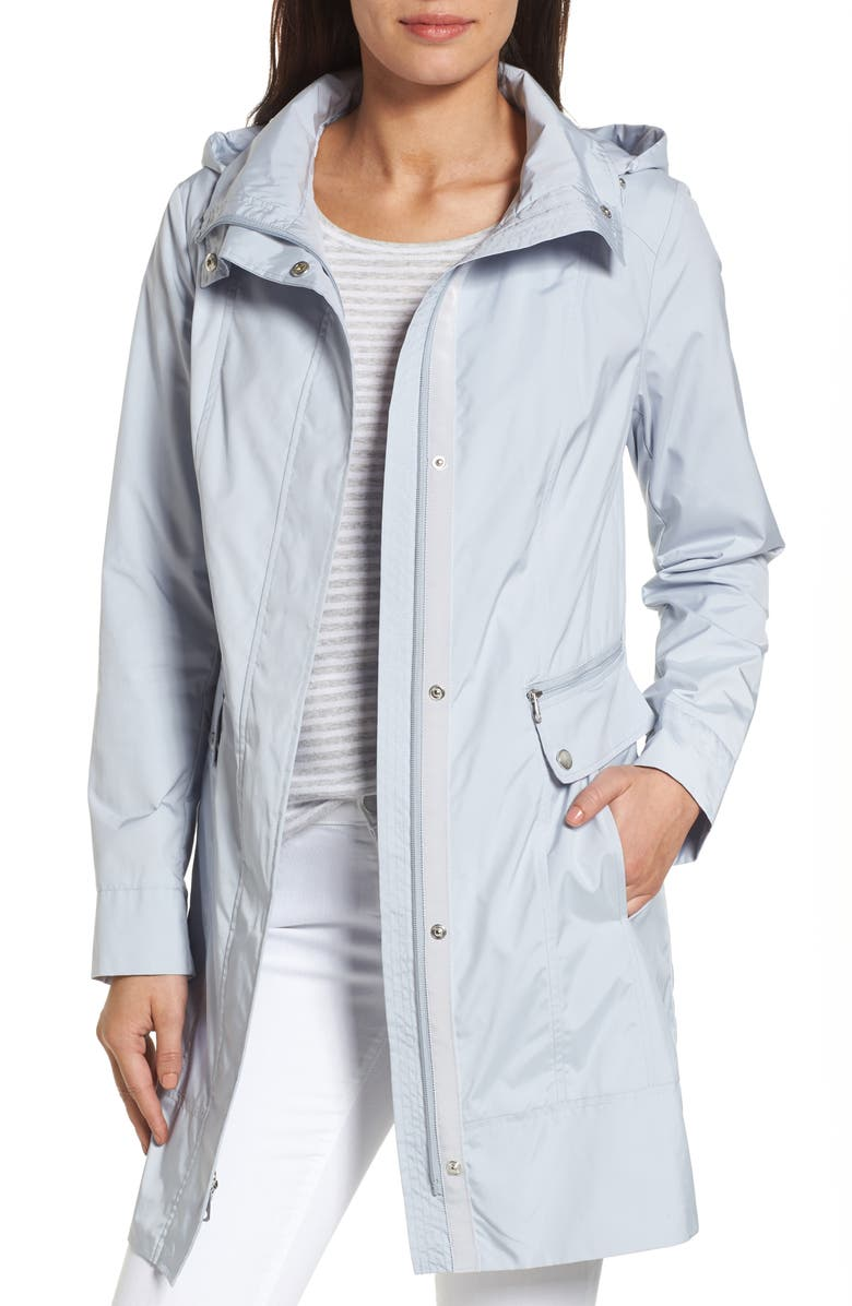 COLE HAAN SIGNATURE Back Bow Packable Hooded Raincoat, Main, color, MIST
