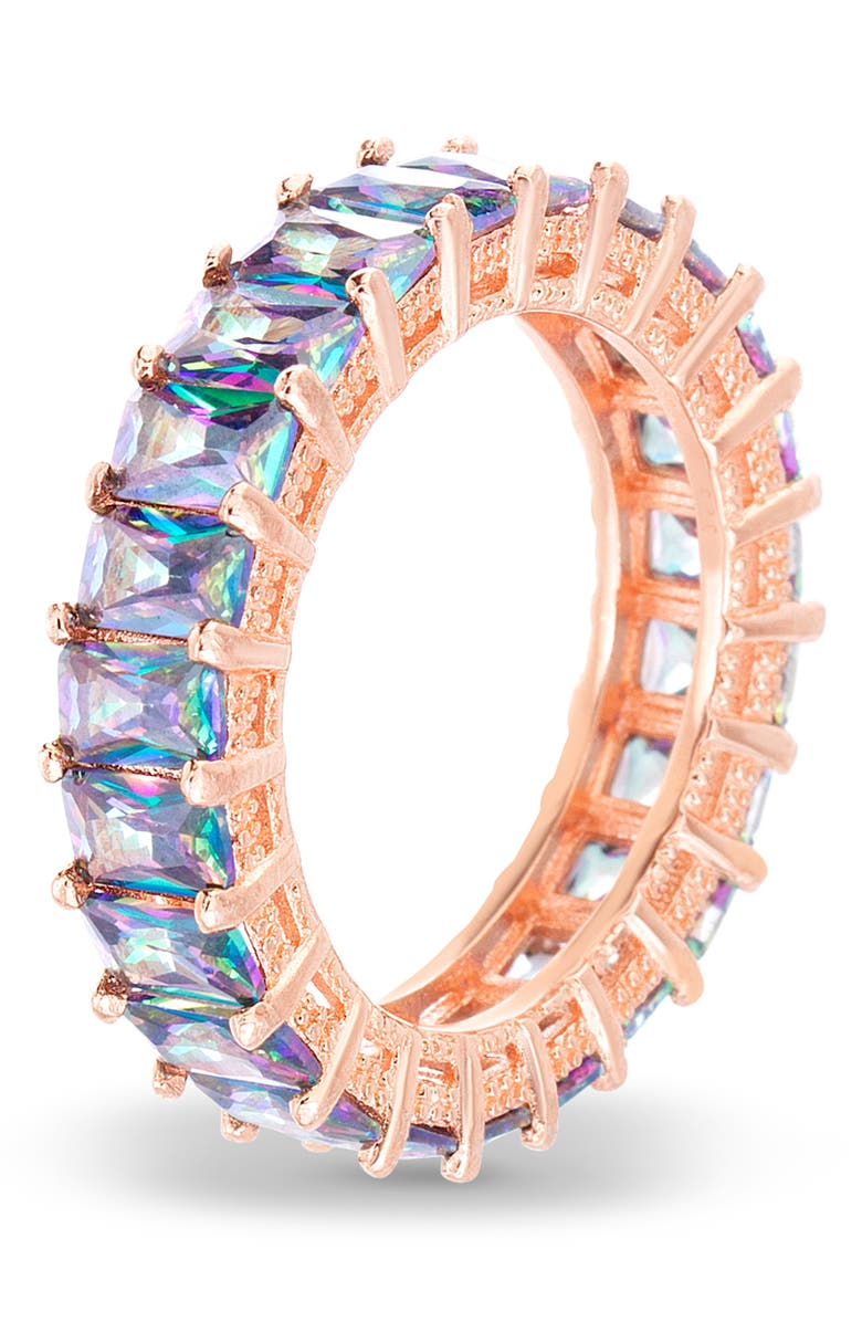 LESA MICHELE Thin Emerald Cut Band Ring, Main, color, ROSE GOLD/ CRYSTAL