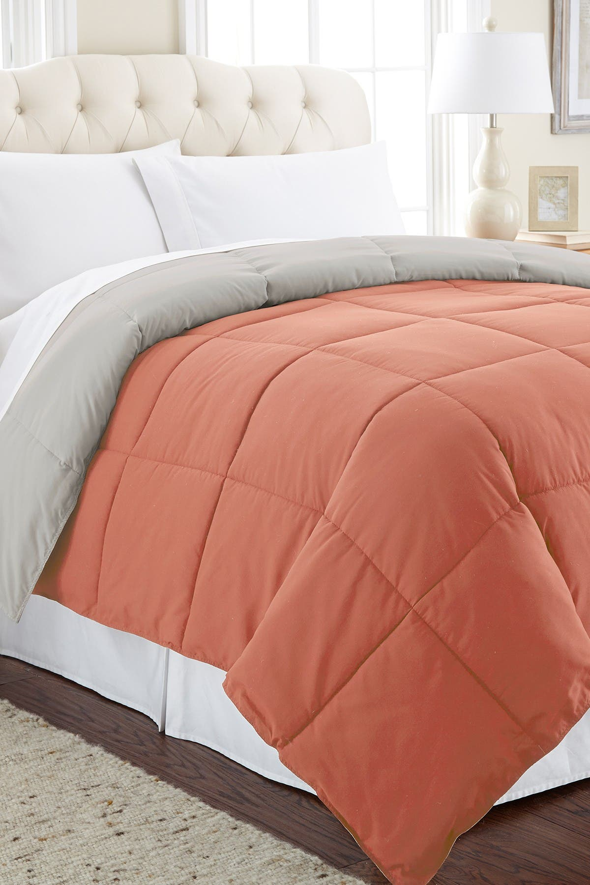 Image of Modern Threads Down Alternative Reversible King Comforter - Orange Rust/Oatmeal