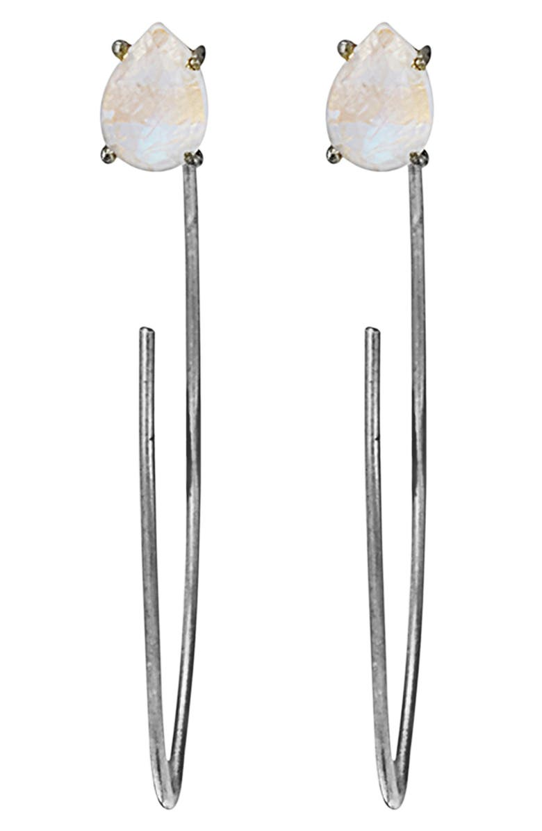 ADORNIA Convertible Hook Hoop Moonstone Earrings, Main, color, BLACK RHODIUM