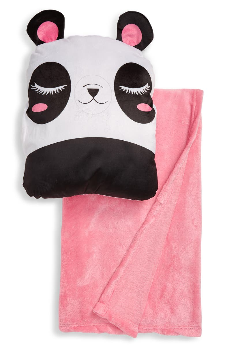 UNDER ONE SKY Panda Pillow & Throw Blanket Set, Main, color, BLACK WHITE
