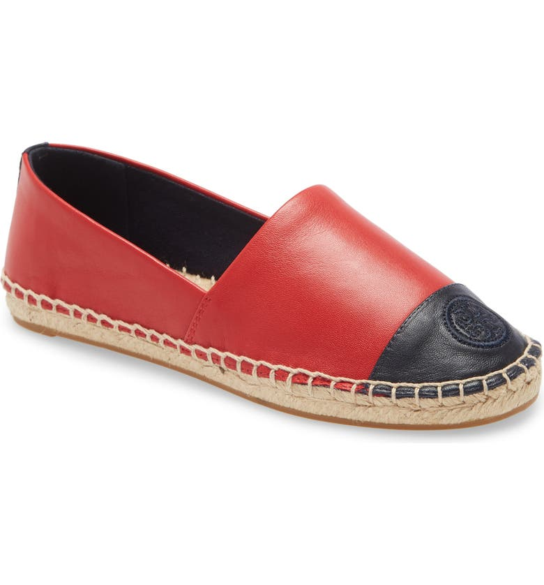 TORY BURCH Colorblock Espadrille Flat, Main, color, BRILLIANT RED / PERFECT NAVY