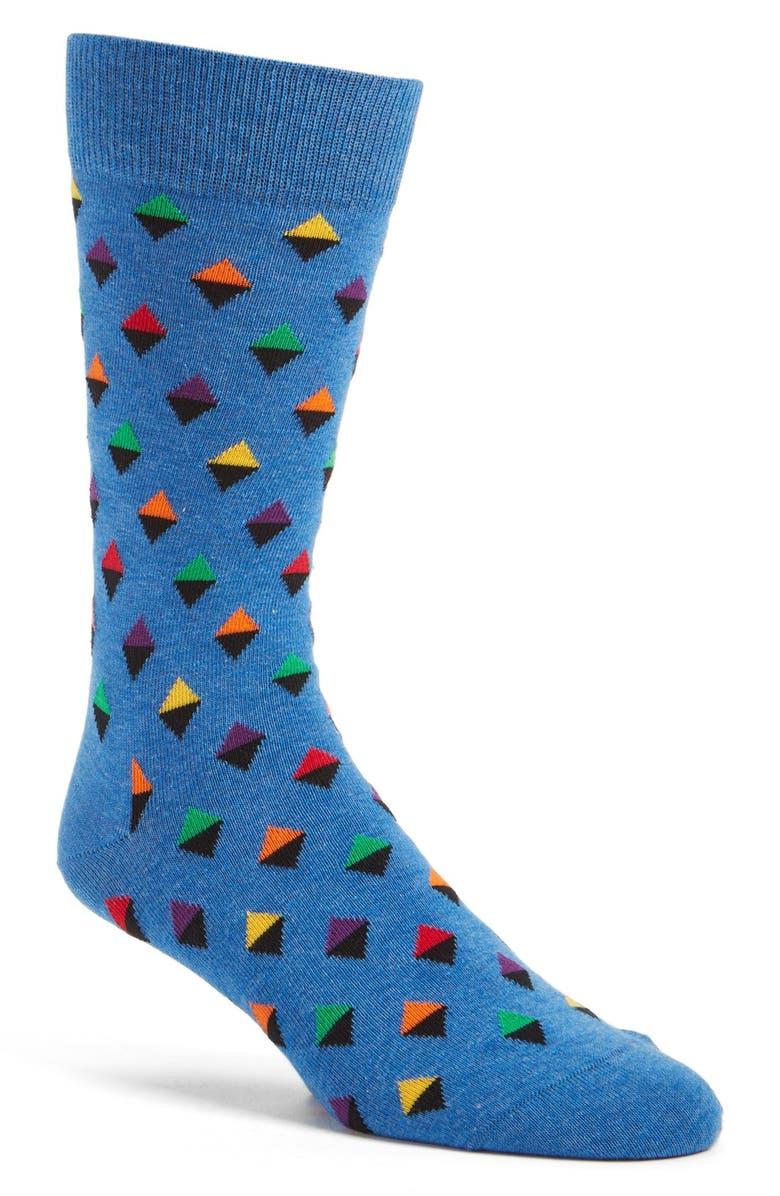 HAPPY SOCKS Geometric Cotton Blend Socks, Main, color, 400