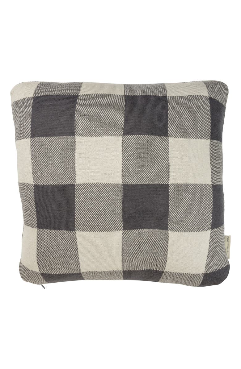 PRIMITIVES BY KATHY Buffalo Check Knit Accent Pillow, Main, color, GREY