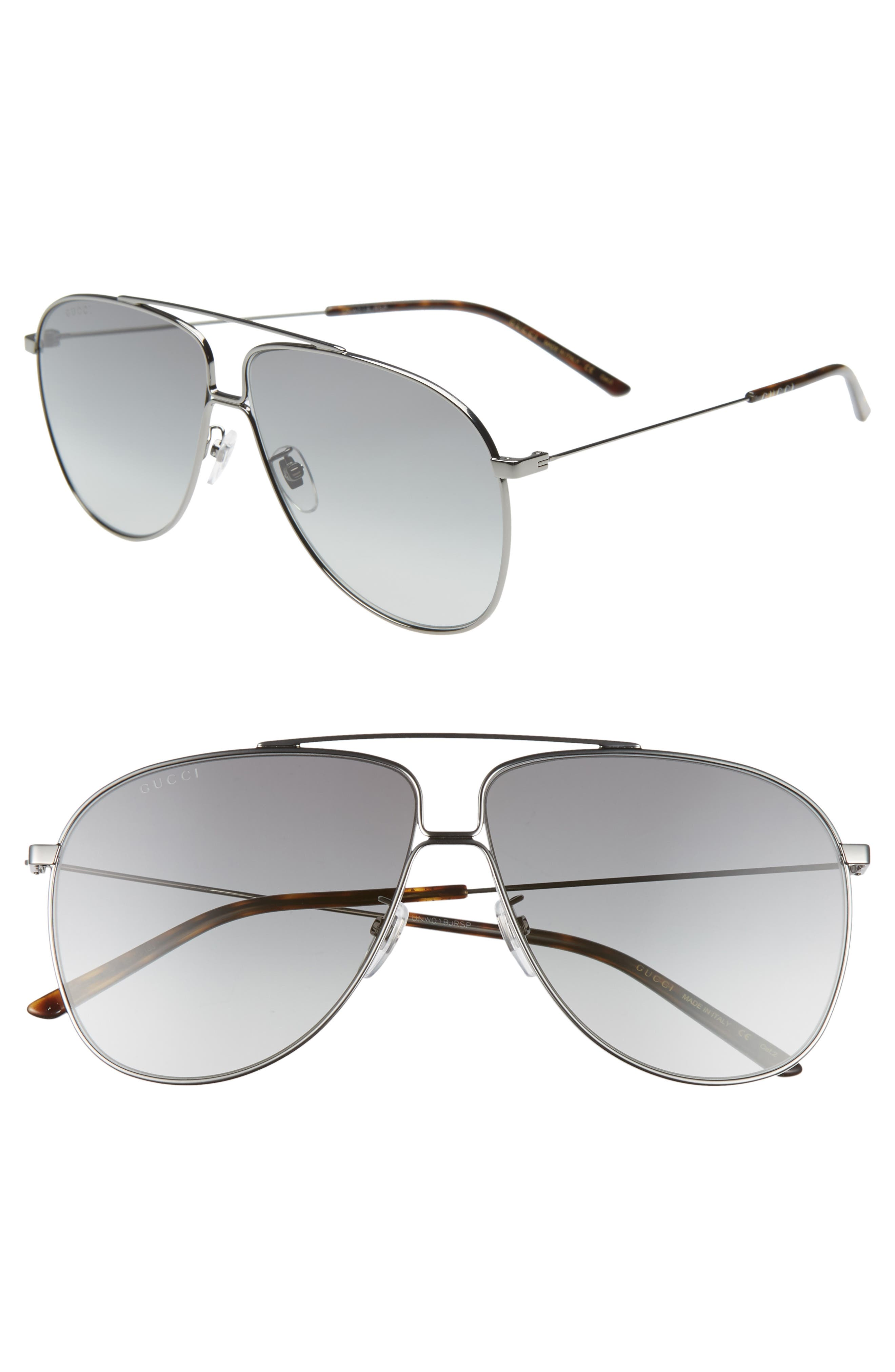 ,                             63mm Oversize Aviator Sunglasses,                             Main thumbnail 1, color,                             SHNY DK RUTH/ GREY GRAD