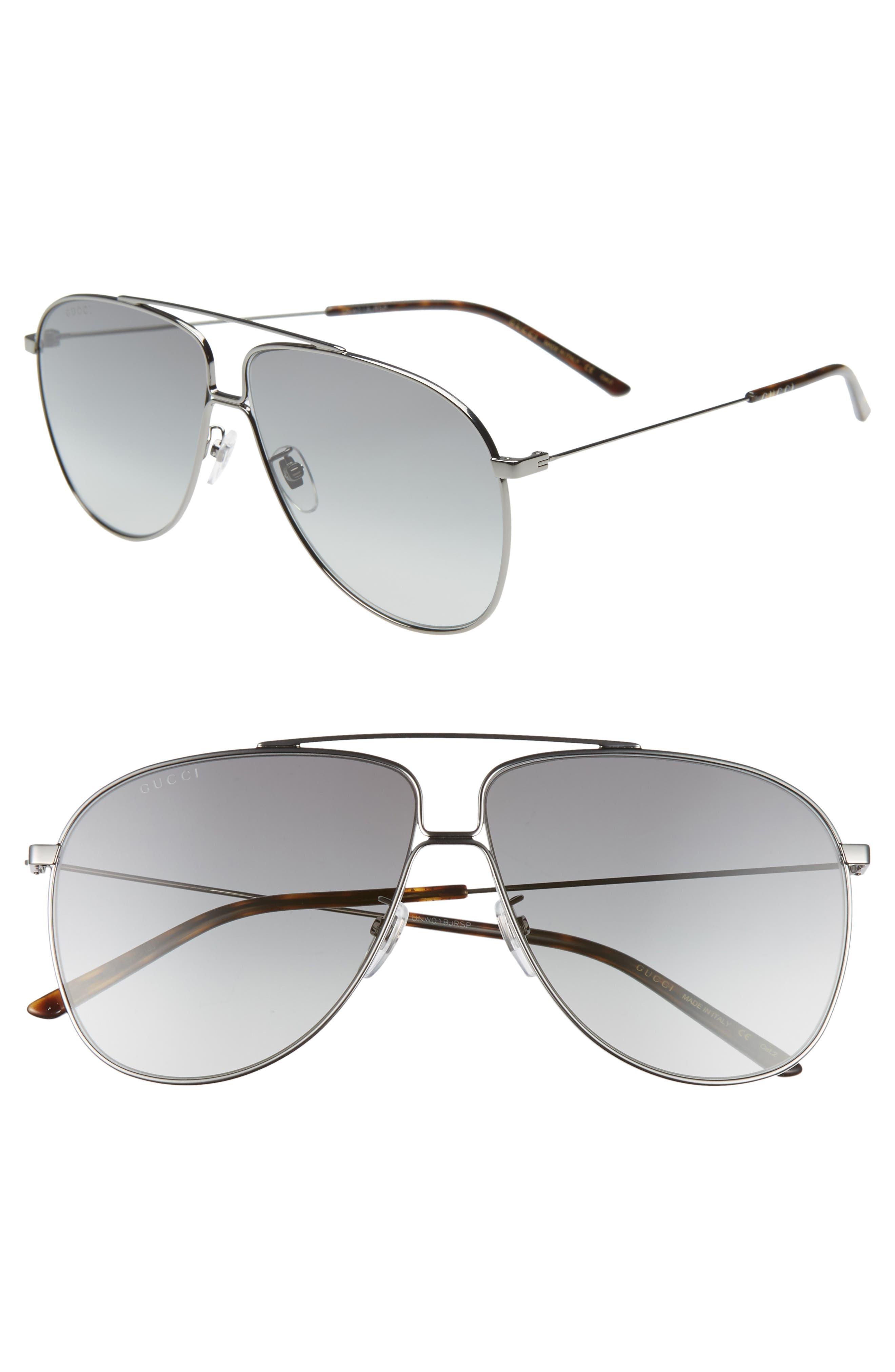 63mm Oversize Aviator Sunglasses, Main, color, SHNY DK RUTH/ GREY GRAD