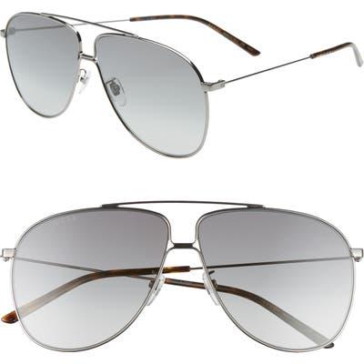 Gucci 6m Oversize Aviator Sunglasses - Shny Dk Ruth/ Grey Grad