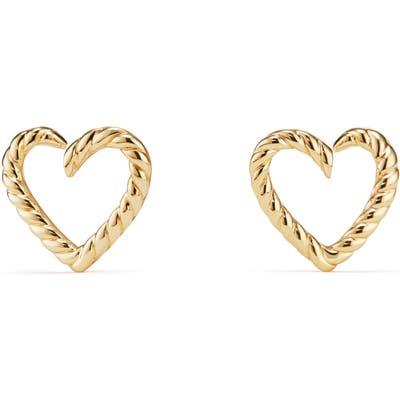 David Yurman Cable Heart Earring In 18K Gold