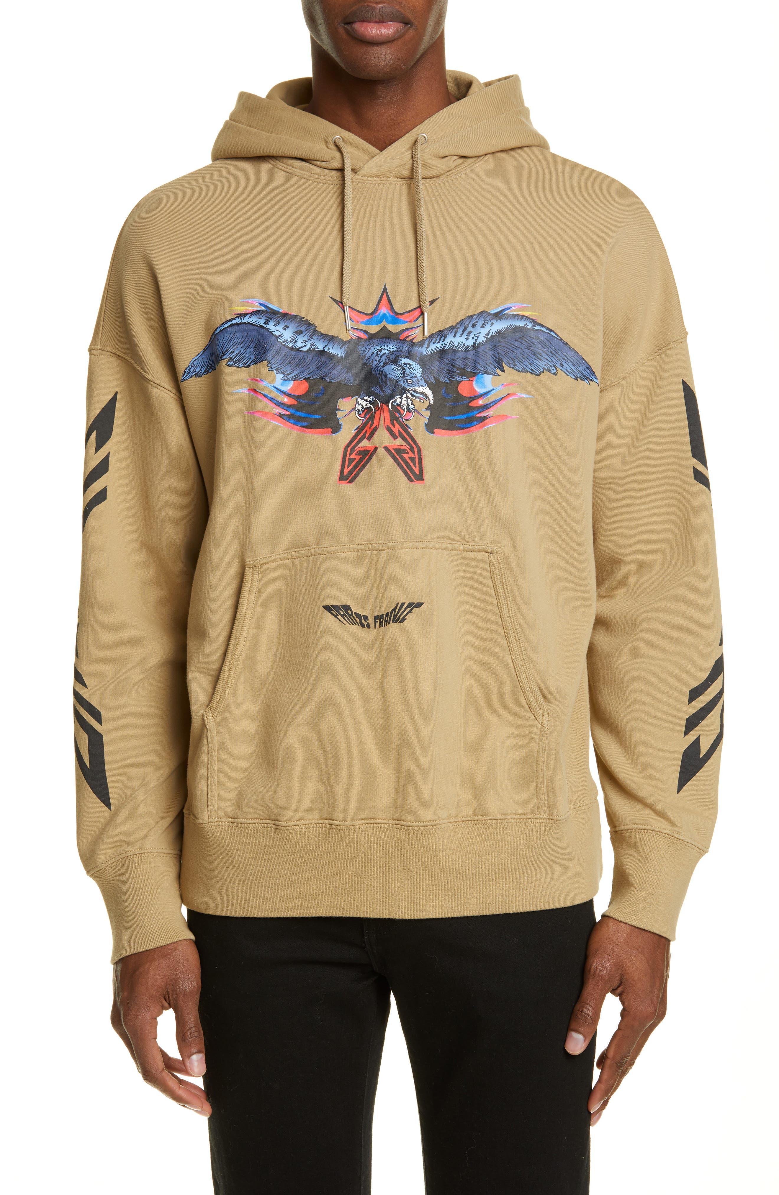 Eagle Print Hooded Sweatshirt, Main, color, BEIGE