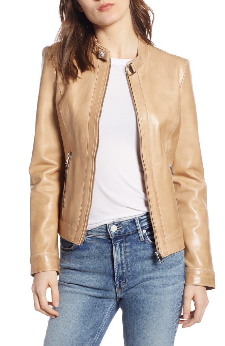 LAMARQUE Lambskin Leather Biker Jacket, Main, color, WARM BEIGE