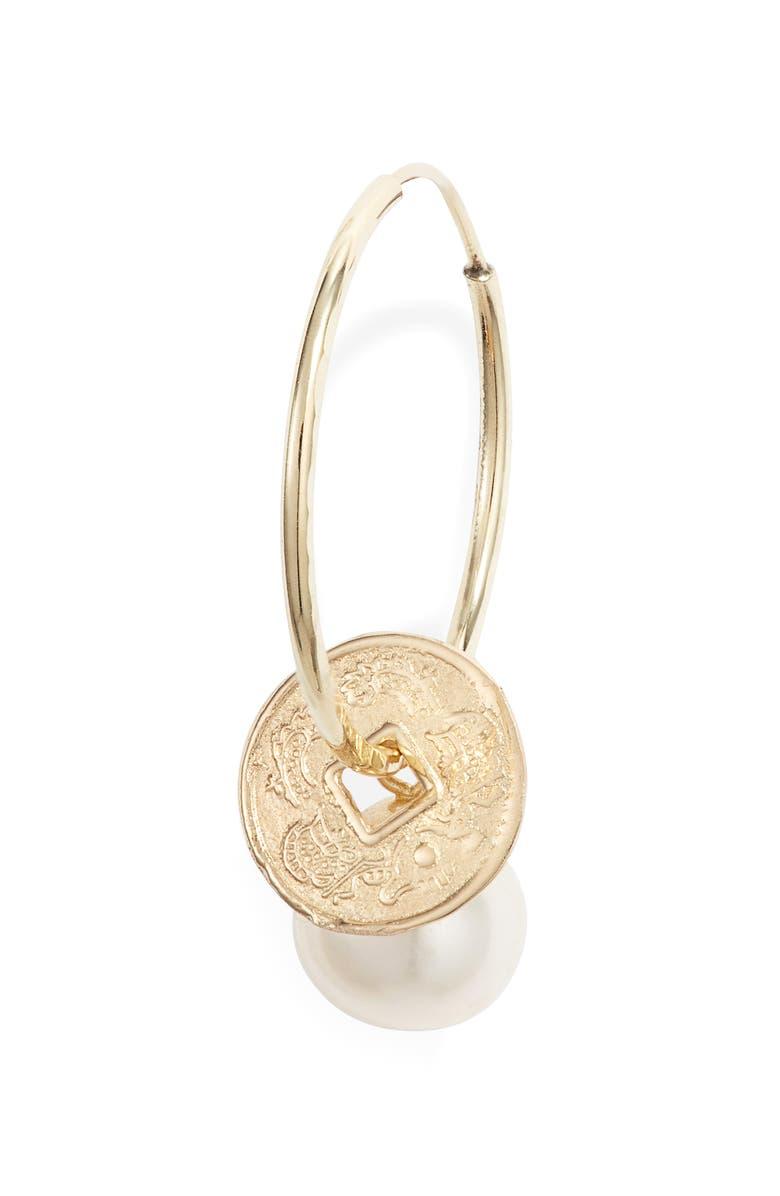LOREN STEWART Coin & Pearl Endless Hoop Earrings, Main, color, YELLOW GOLD/ PEARL