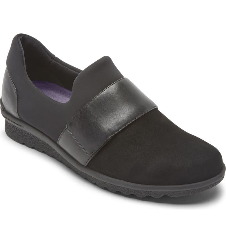 ARAVON Josie Water Repellent Flat, Main, color, BLACK SUEDE