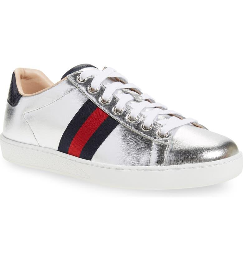 GUCCI 'New Ace' Metallic Low Top Sneaker, Main, color, METALLIC SILVER