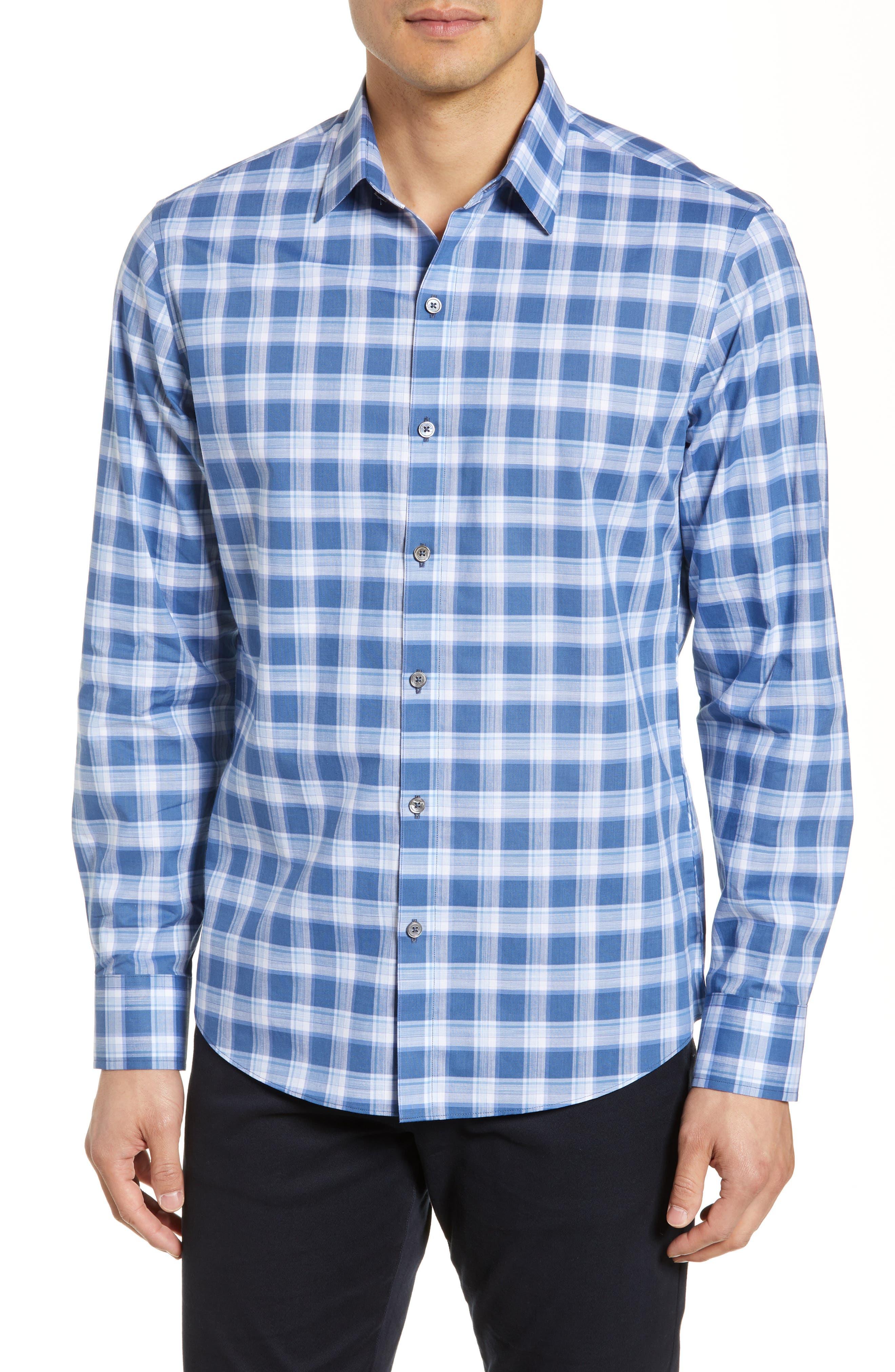 ,                             Albrecht Regular Fit Check Sport Shirt,                             Main thumbnail 1, color,                             BLUE