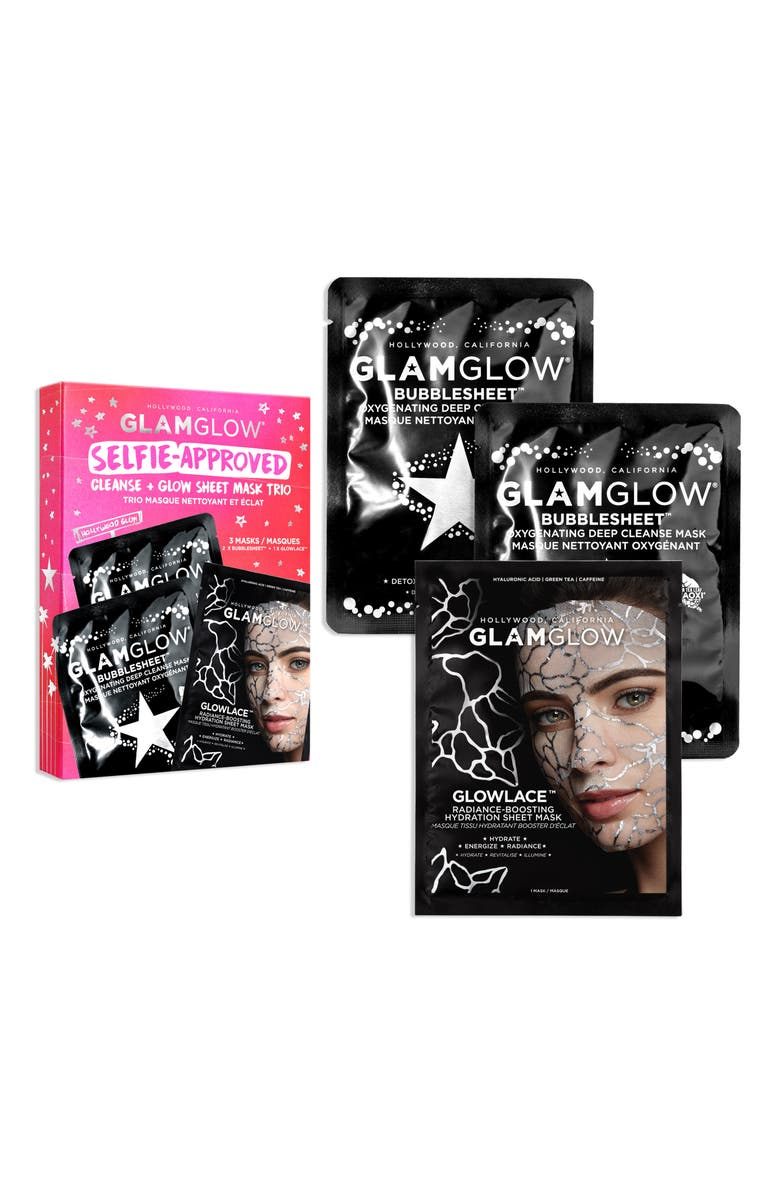GLAMGLOW<SUP>®</SUP> Selfie-Approved Cleanse + Glow Sheet Mask Trio, Main, color, 000