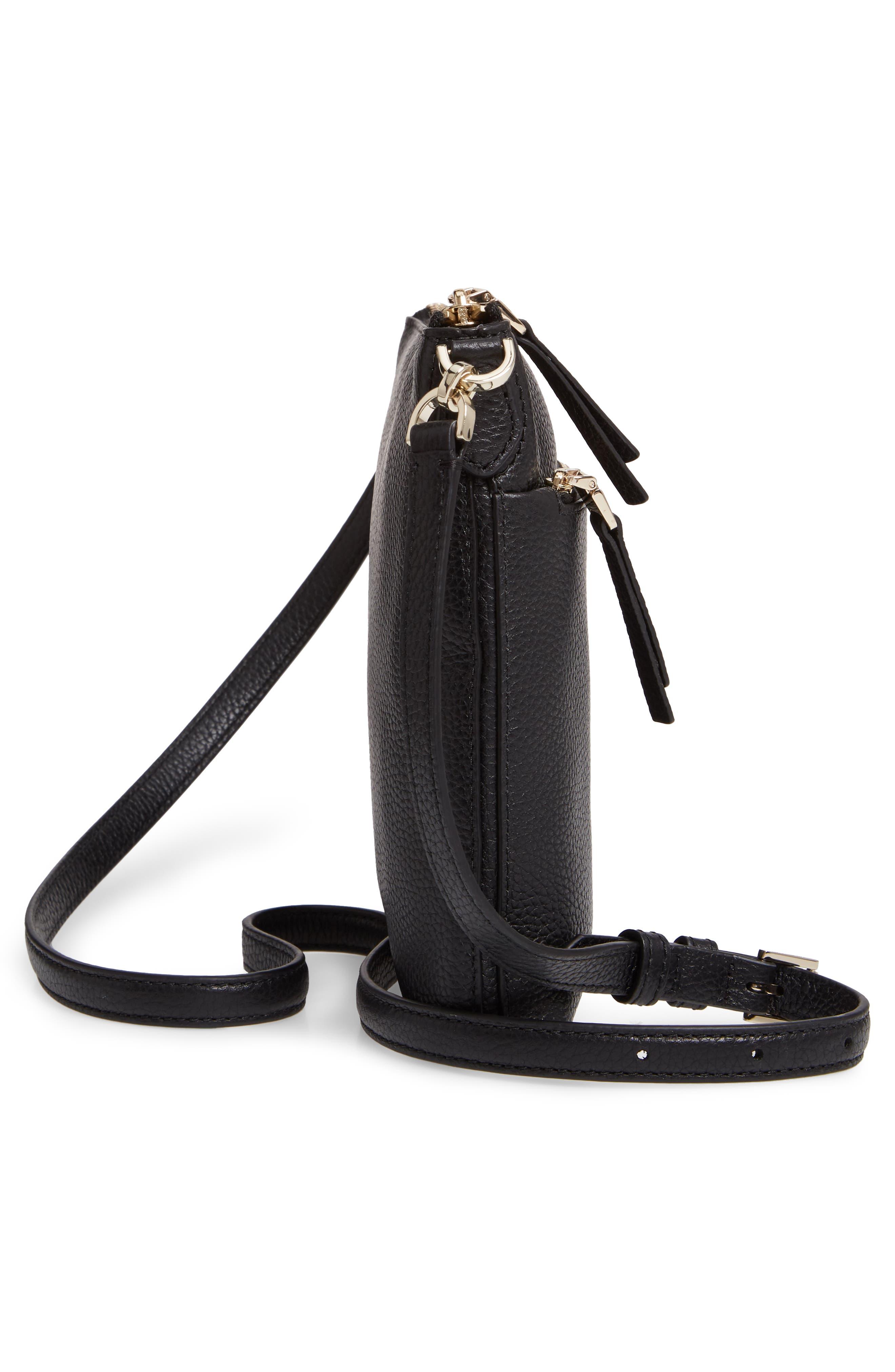 ,                             medium polly leather crossbody bag,                             Alternate thumbnail 6, color,                             BLACK