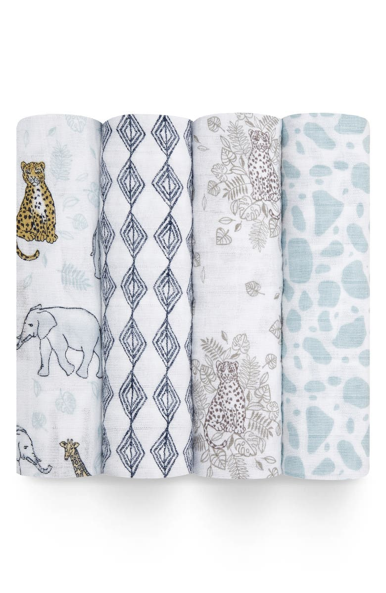 ADEN + ANAIS 4-Pack Classic Swaddling Cloths, Main, color, NEUTRAL JUNGLE
