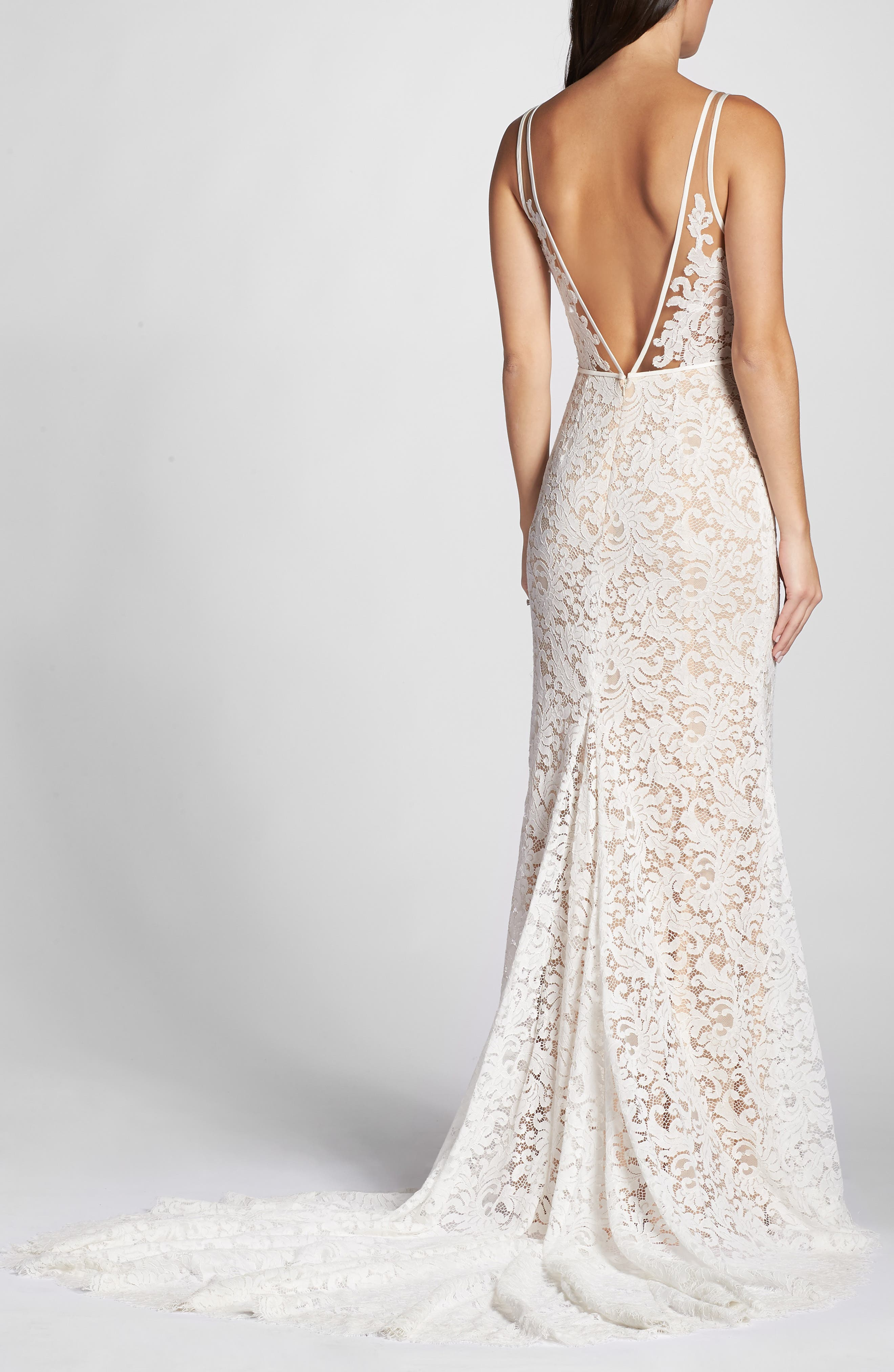 ,                             Derica Lace Gown,                             Alternate thumbnail 2, color,                             IVORY / NUDE