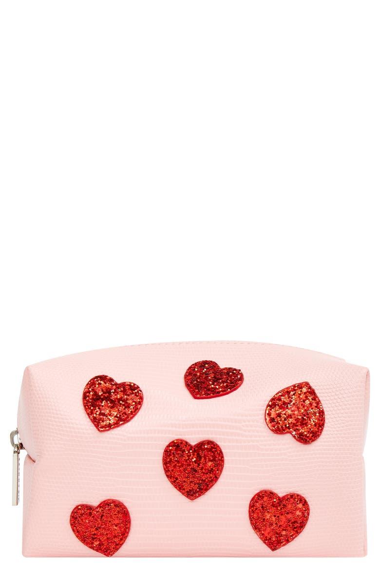 SKINNYDIP Pink Hearts Makeup Bag, Main, color, NO COLOR