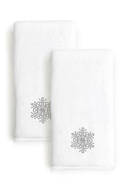 Image of LINUM HOME Grey Snow Flake Embroidered Hand Towels - Set of 2