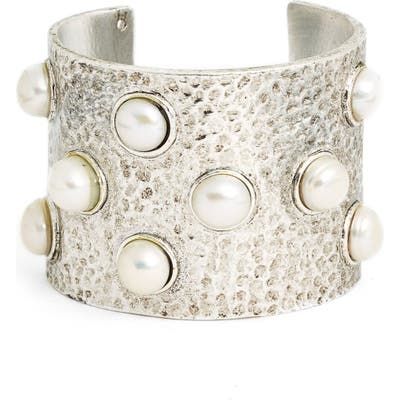 Karine Sultan Hammered Imitation Pearl Cuff
