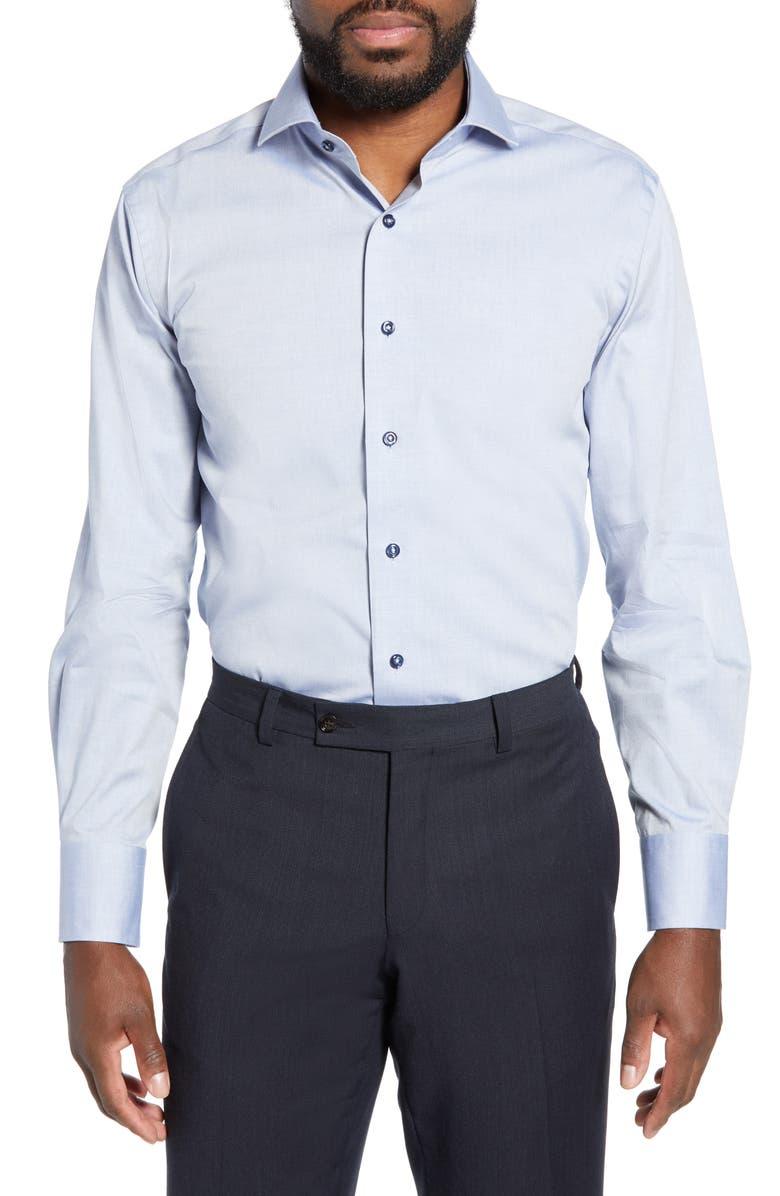 LORENZO UOMO Trim Fit Solid Dress Shirt, Main, color, DENIM